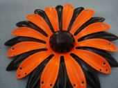 Floral Brooch in Bright Orange and Black - 1960's (Sold)